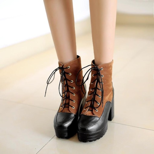 Chunky Heel Platform Lace-Up Patchwork Martin Boots for Women