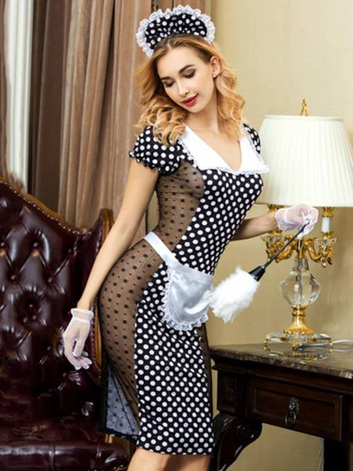 Short Sleeve Polka Dots Sexy Maid Costume