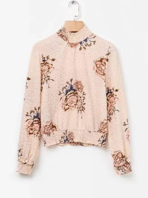 Retro Stand Collar Floral Print Women's Blouse