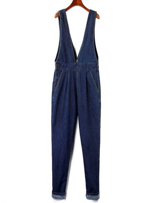 Denim Zipper Pocket Suspender Women's Overalls