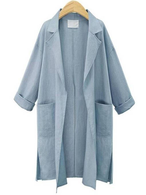 Mid Length Pocket Notched Lapel Women's Trench Coat