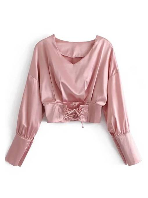 Metallic Lace Up Pleated Crop Top Women's Blouse