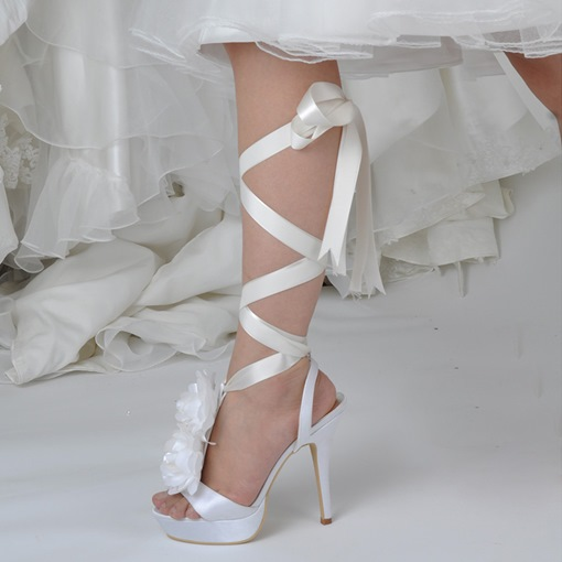 Strappy Lace-Up Ribbon Appliques Exquisite Wedding Shoes for Women