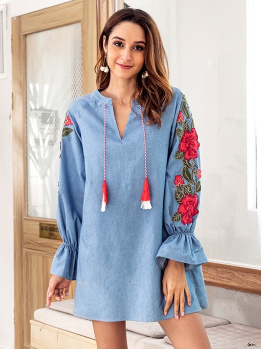 V-Neck Long Sleeve Denim Dress