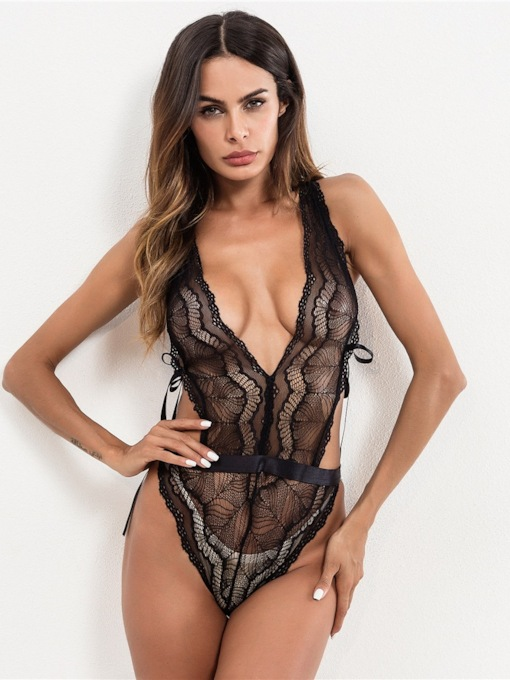 Sexy Lingerie Cross Strap Bowknot Backless Teddy