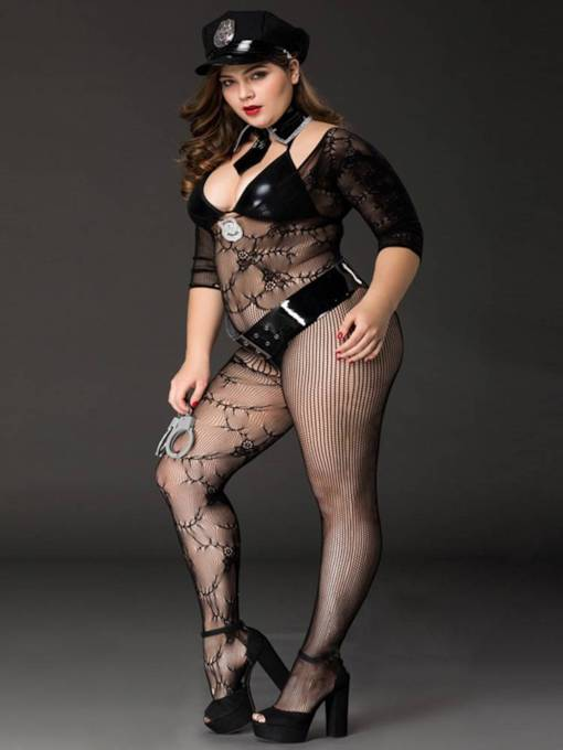 Fishnet See-Through Police Costume Body Stockings