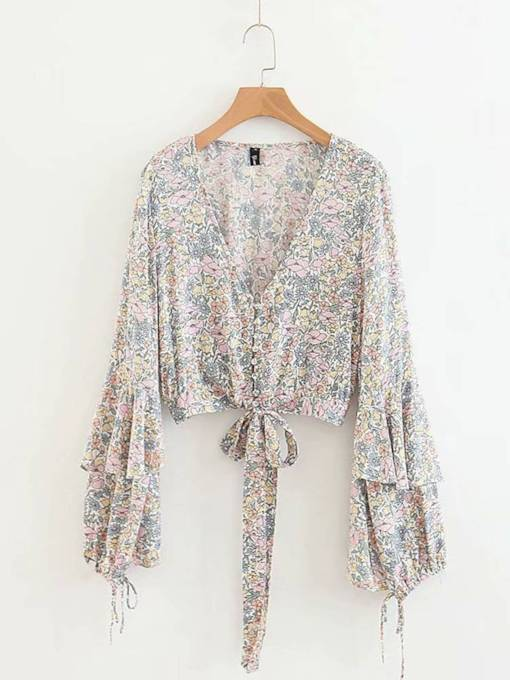 Lace Up Floral Plunge Ruffle Sleeve Women's Shirt