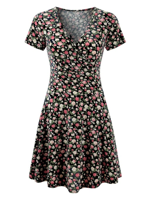 Short Sleeve Floral Prints Wrap Dress