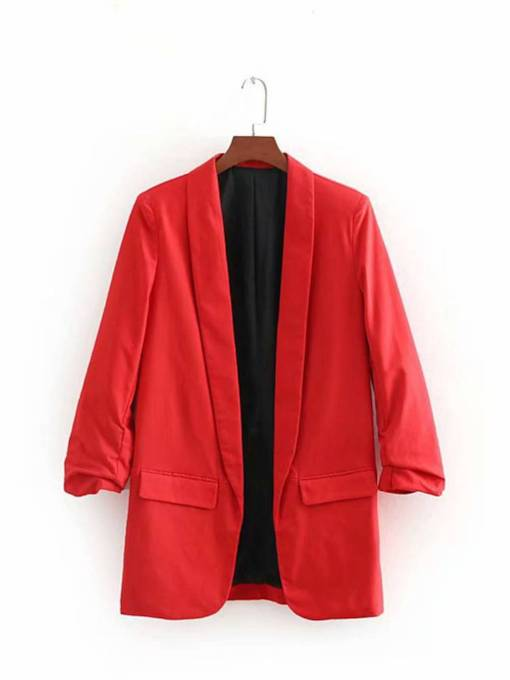 Pleated Open Front Pure Color Pocket Women's Blazer