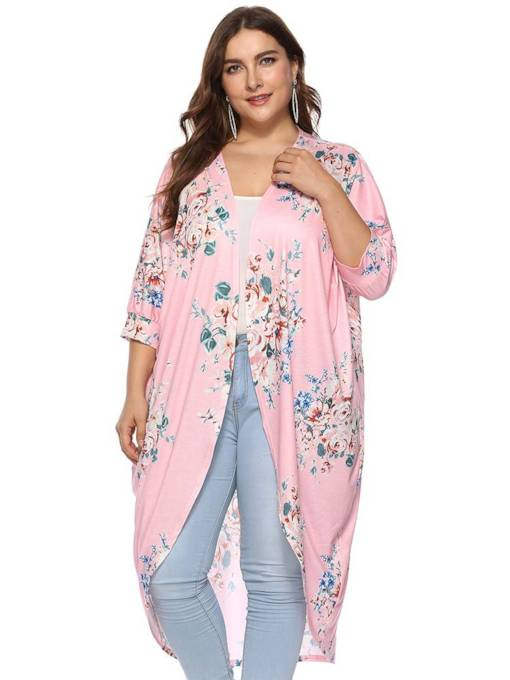 Plus Size Mid Length Slimming Fit Women's Cardigan