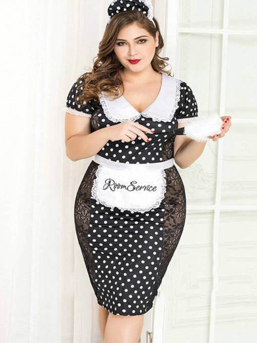Polka Dots Floral See-Through Plus Size Maid Costume