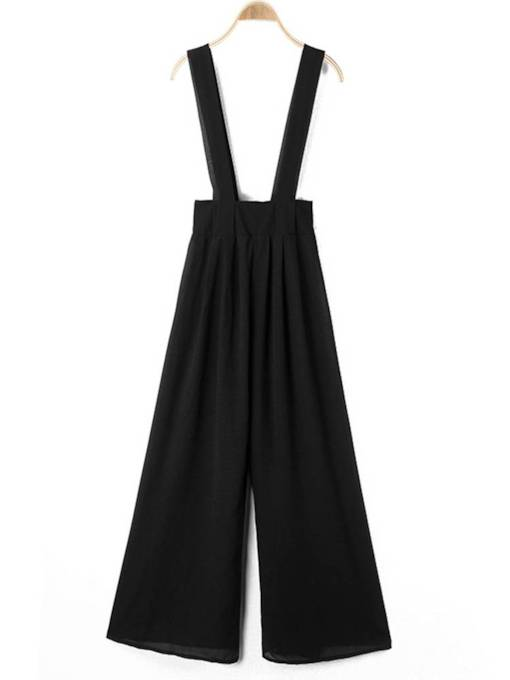Plain Wide Legs Suspenders Women's Jumpsuit