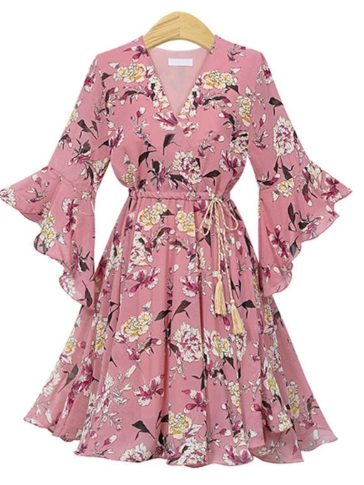 Flare Sleeve High Waist Prints Wrap Dress