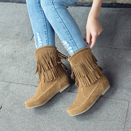 Round Toe Block Heel Fringe Thread Fashion Ankle Boots for Women
