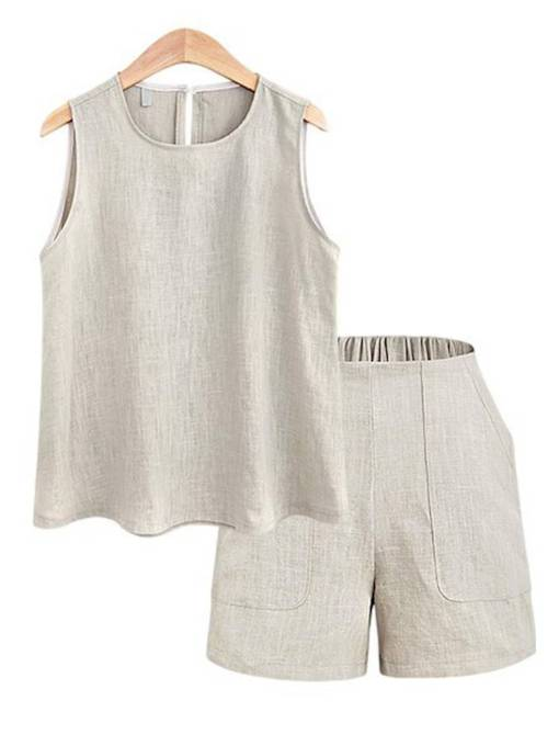 Plain Vest with Shorts Women's Two Piece Set