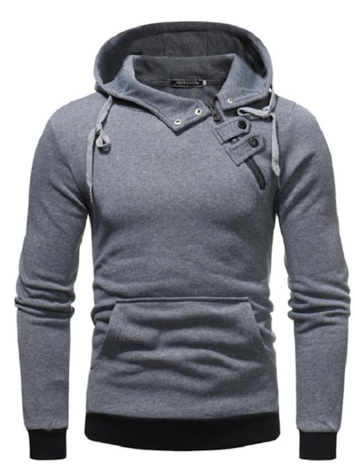 Solid Color Inclined Closure Slim Men's Hoodie