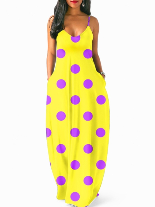 Spaghetti Strap Polka Dots Prints Maxi Dress