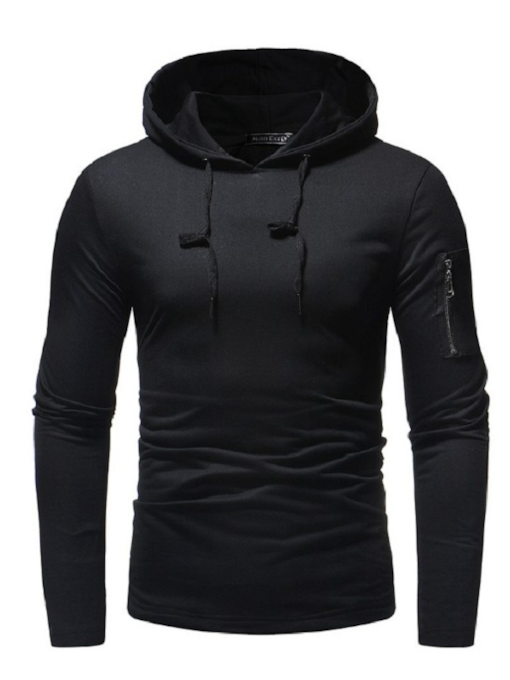 Zipper Decorated Solid Color Men's Hoodie