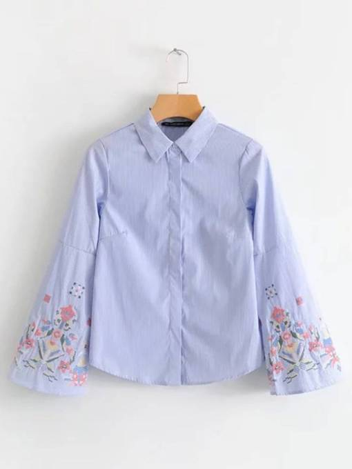 Floral Embroidery Bell Sleeve Single-Breasted Women's Shirt