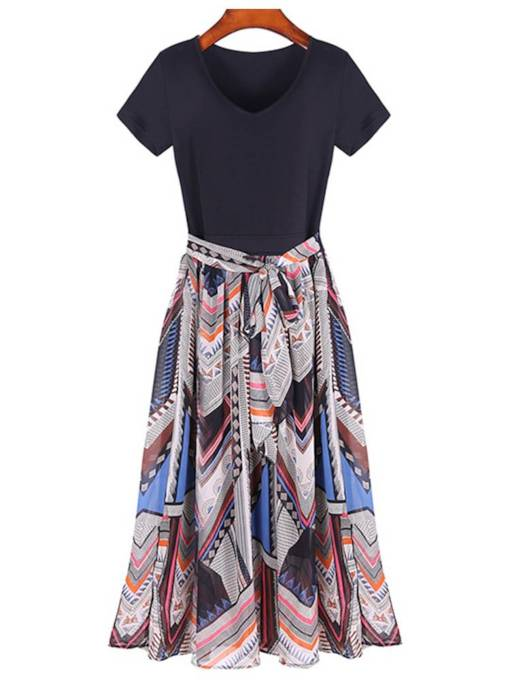 Short Sleeve Prints A-Line Day Dress
