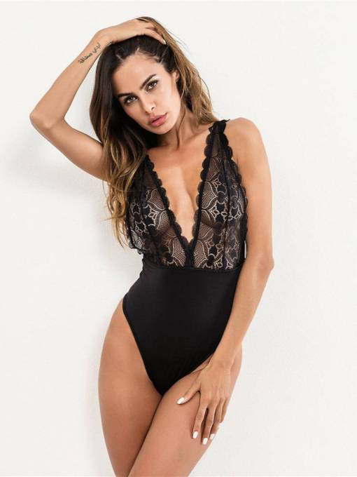 Sexy Lingerie Deep V-Neck Lace Hollow Teddy Bodysuit