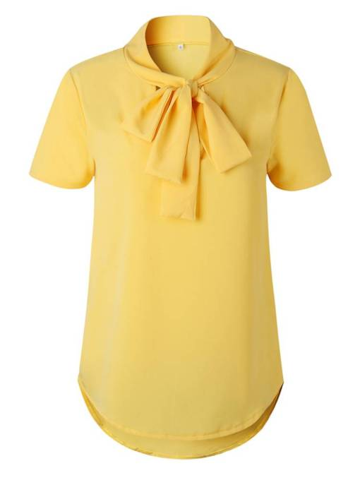 Bow Tie Neck Solid Color Short Sleeve Women's T-Shirt