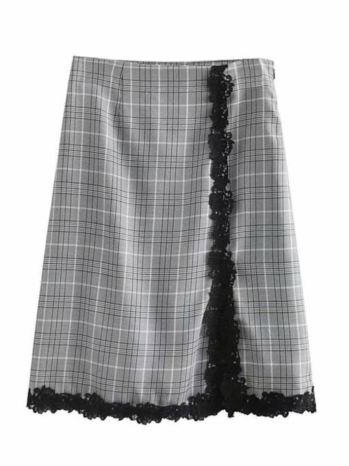 Plaid Lace Patchwork Women's Bodycon Skirt