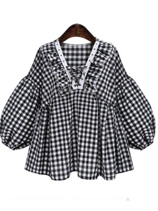 Lantern Sleeve Plaid Lace Up High Waist Women's Blouse