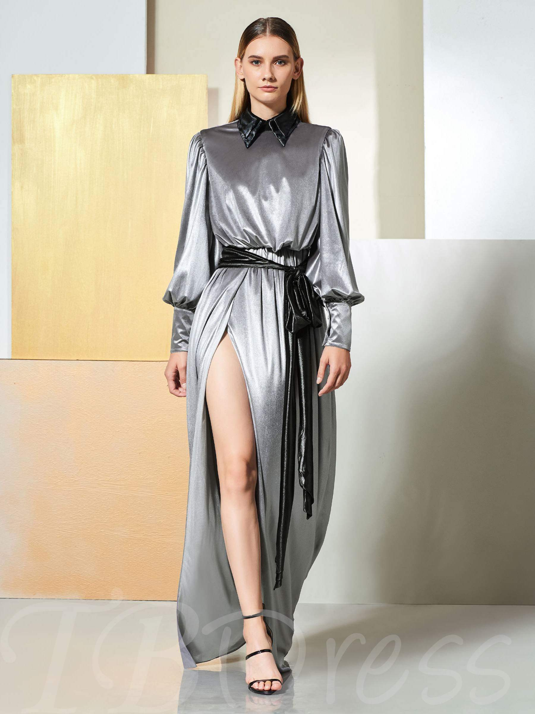 Buy A-Line Draped Sashes Split-Front Evening Dress, Spring,Summer,Fall,Winter, 13348015 for $154.85 in TBDress store