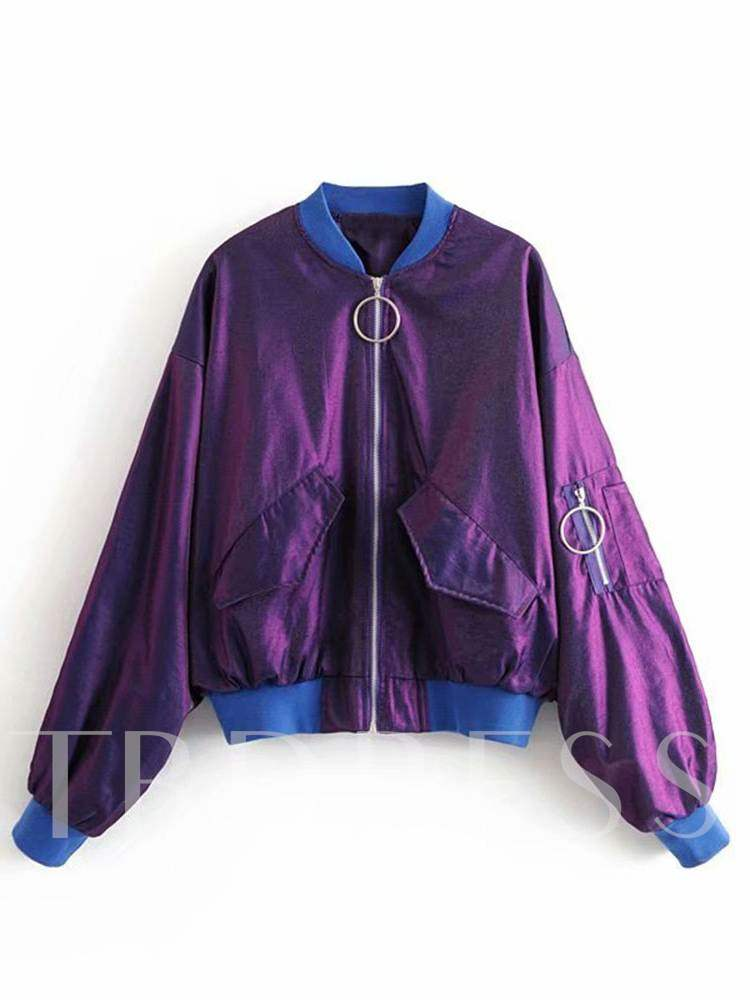 Buy Loose Contrast Color Dual Pocket Women's Jacket, Spring,Fall,Winter, 13348637 for $27.57 in TBDress store