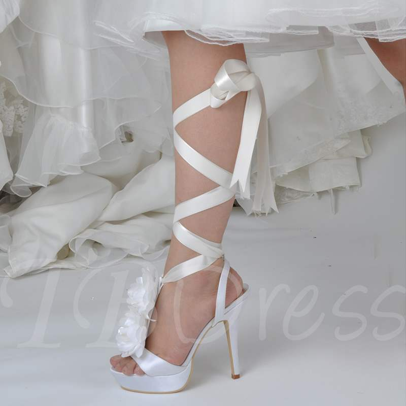 Strappy Lace-Up Ribbon Appliques Exquisite Wedding Shoes for Women, Spring,Summer, 13348709