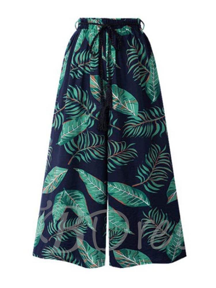 Buy Leaf Print Wide Legs Lace-Up Women's Casual Pants, Summer, 13348343 for $16.91 in TBDress store