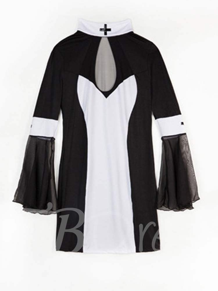 Color Block Mesh Sexy Plus Size Nun Costume