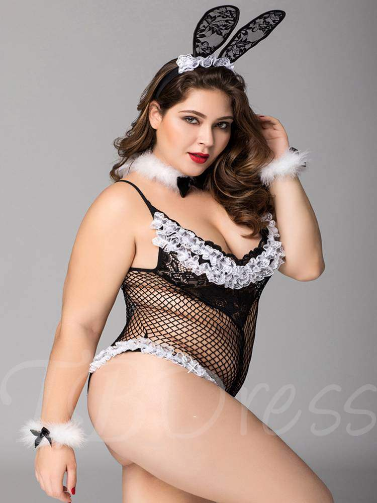616adf813 Fishnet Hollow Plus Size Bunny Costume Sexy Teddy - Tbdress.com