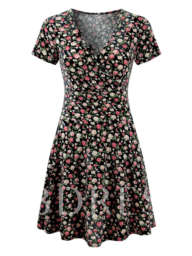 Buy Short Sleeve Floral Prints Wrap Dress, Summer, 13349333 for $13.24 in TBDress store