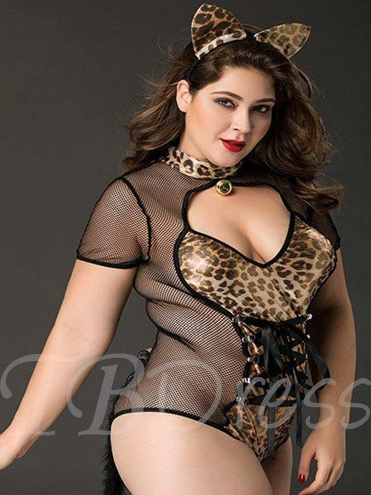 Lace-Up Leopard Plus Size Cat Woman Costume
