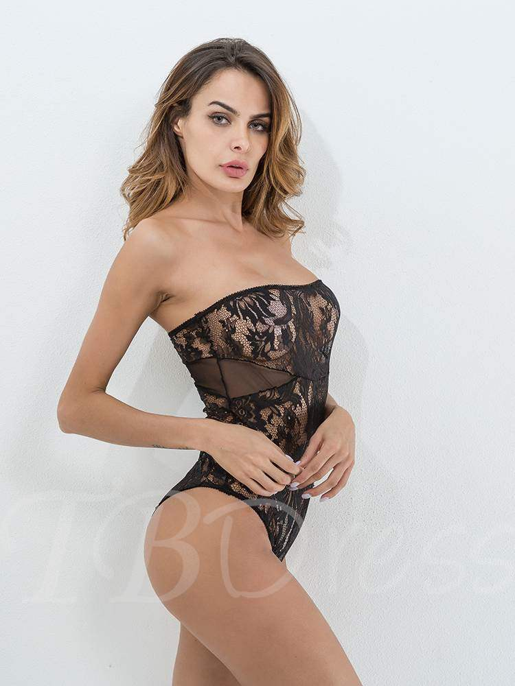 Sexy Lingerie Strapless Hollow Teddy Bodysuit