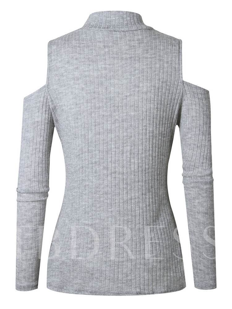 Cold Shoulder Slim Fit Women's Mock Neck Sweater