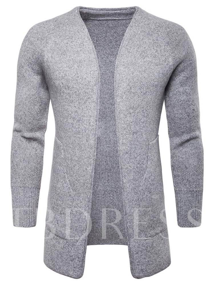 Solid Color Non-Button Mid Pattern Men's Knitwear
