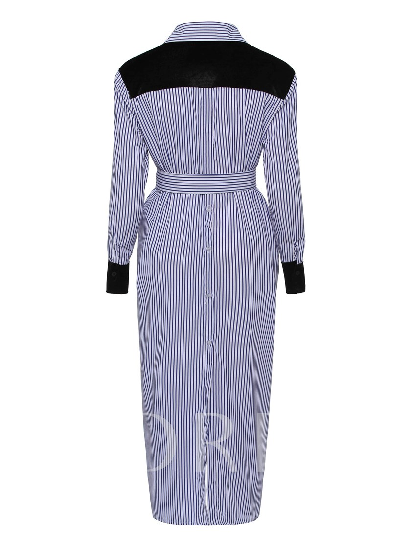 Long Sleeve Stripe Belt Waist Day Dress