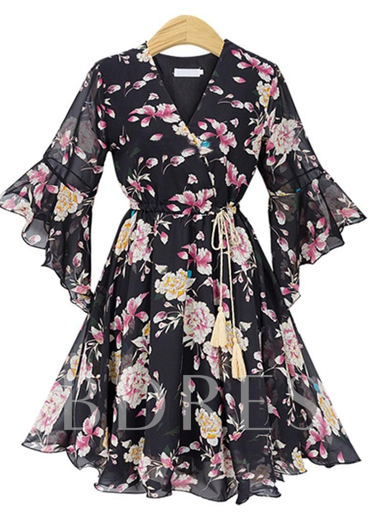 Buy Flare Sleeve High Waist Prints Wrap Dress, Summer,Fall, 13349341 for $21.69 in TBDress store