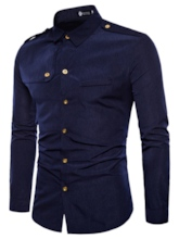 Lapel Shoulder Board Plain Men's Shirt