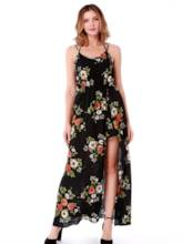 Prints Sleeveless High Split Maxi Dress