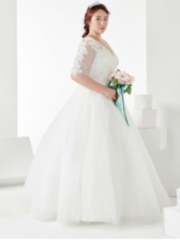 Appliques Plue Size Wedding Dress with Half Sleeve