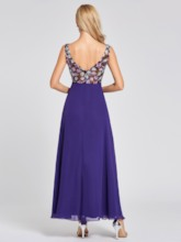 V Neck Embroidery A Line Evening Dress