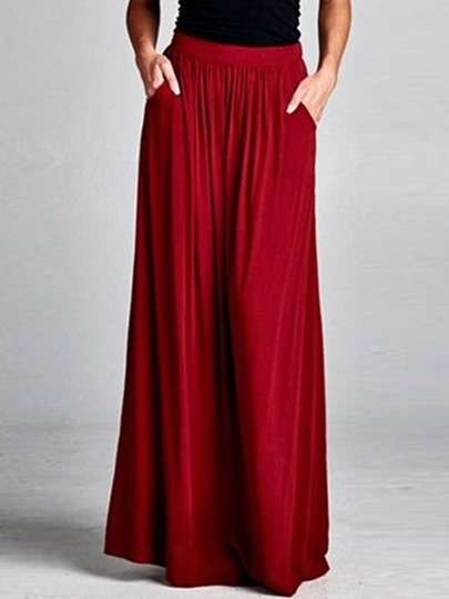Plain Pleated Ankle Length Women's Maxi Skirt