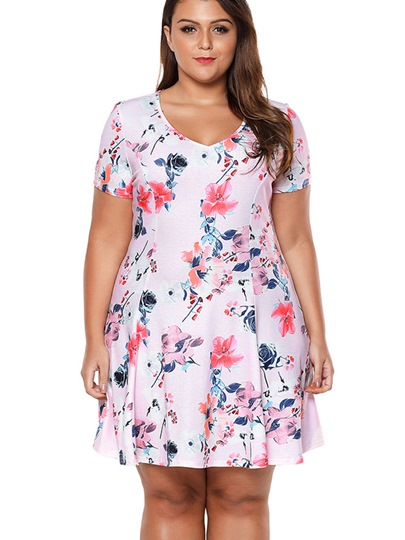 Floral Short Sleeve Plus Size Women's Day Dress