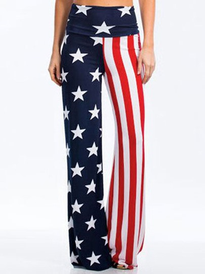 National Flag Stripe Print Casual Women's Pants