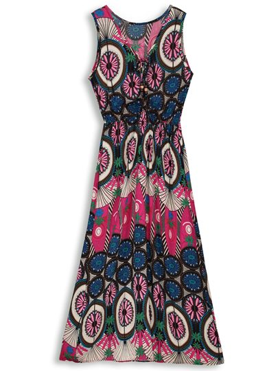 Floral Ethnic Sleeveless Pullover A-Line Dress
