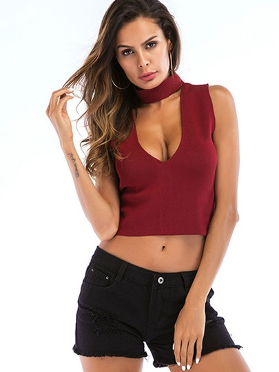 Sexy Choker Sleeveless U Neck Women's Cropped Top